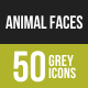 Animal Faces Greyscale Icons