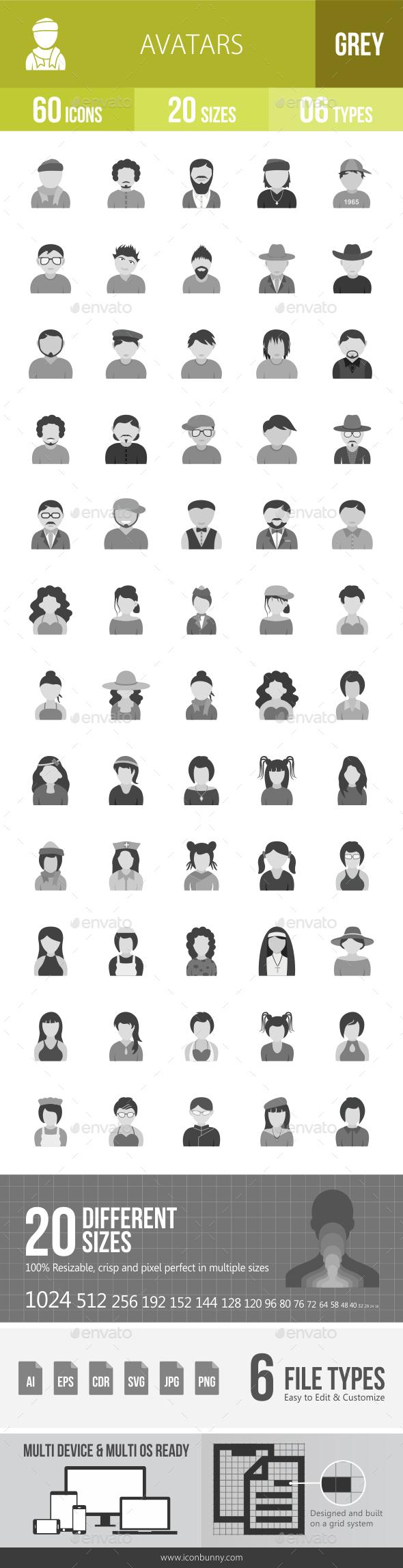 Avatars Greyscale Icons - Icons