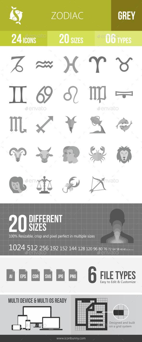 Zodiac Greyscale Icons - Icons