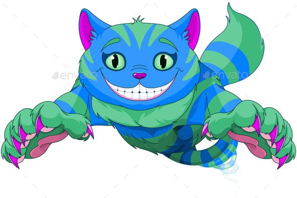 Cheshire Cat jumping - Characters Vectors