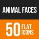 Animal Faces Flat Round Icons