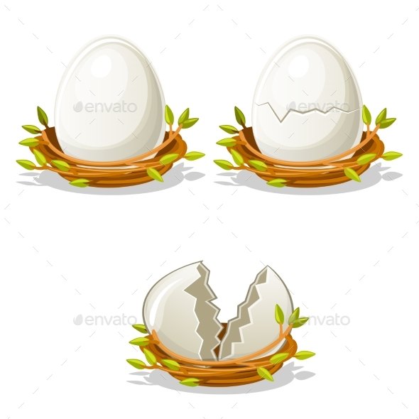 Cartoon Funny Egg in Birds Nest of Twigs - Food Objects