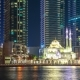 White Mosque Among Skyscrapers in the Harbor Area of Dubai Marina - VideoHive Item for Sale