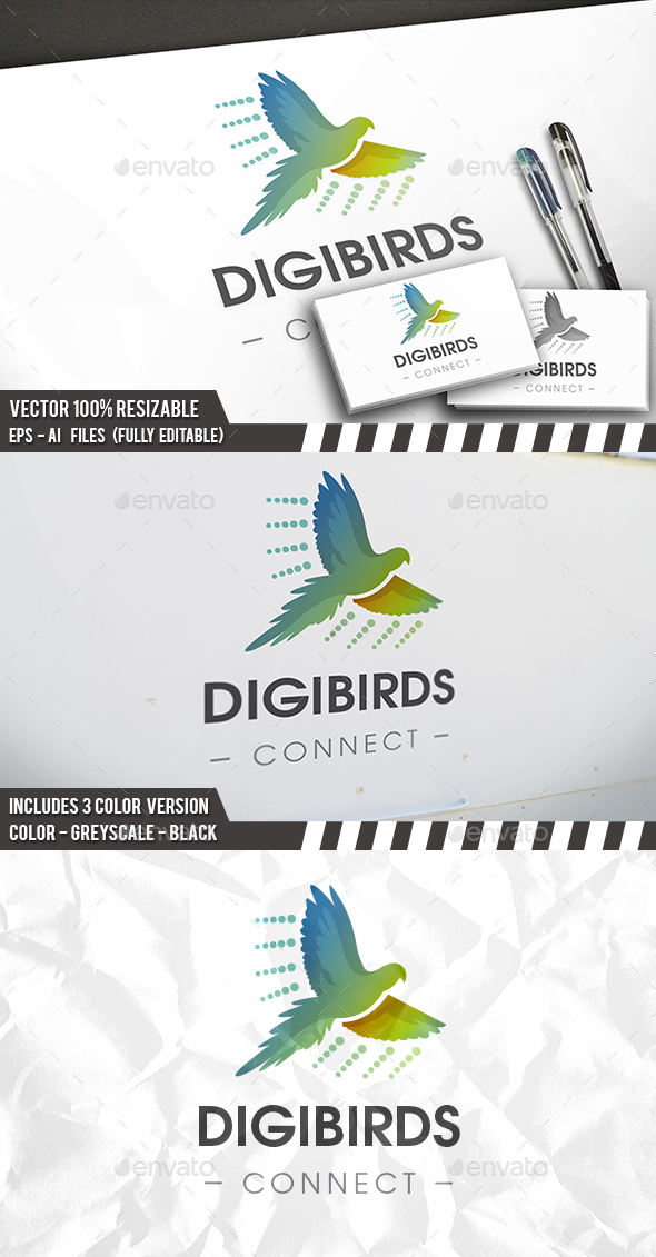 Dots Bird Flight Logo - Animals Logo Templates