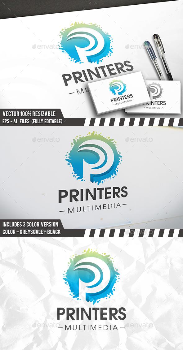Print Splash P Letter Logo - Letters Logo Templates