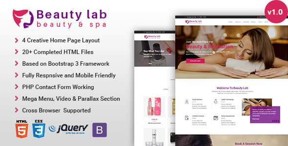 Download Beauty Lab - Beauty & Spa HTML5 Template