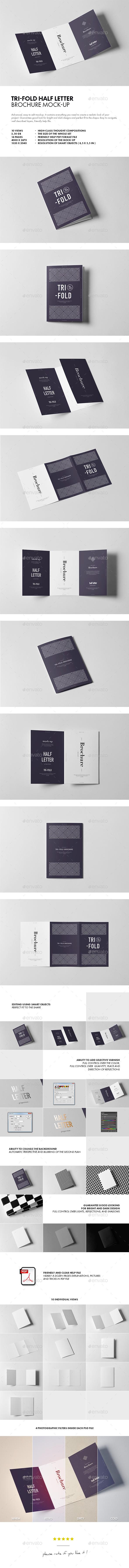 Tri-Fold Half Letter Brochure Mock-up - Brochures Print