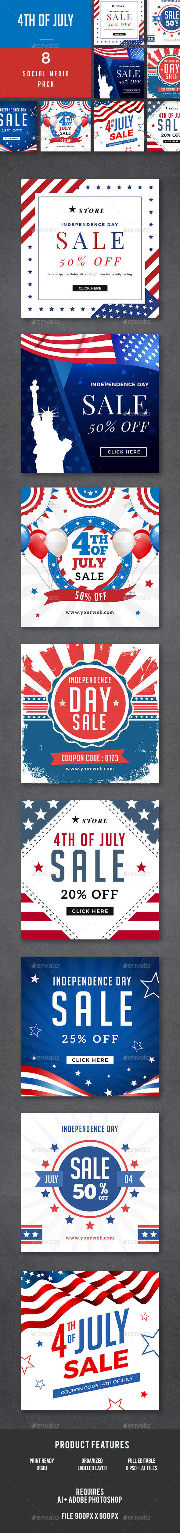 4th of July Banners - Banners & Ads Web Elements