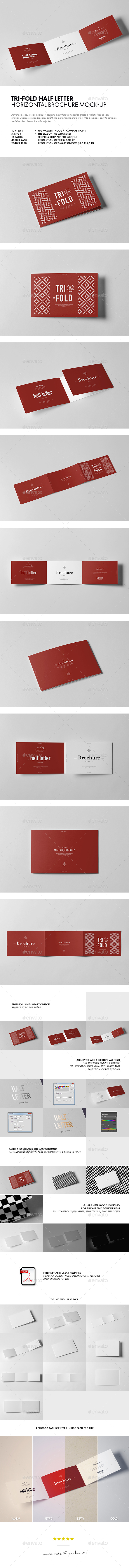 Tri-Fold Half Letter Horizontal Brochure Mock-up - Brochures Print
