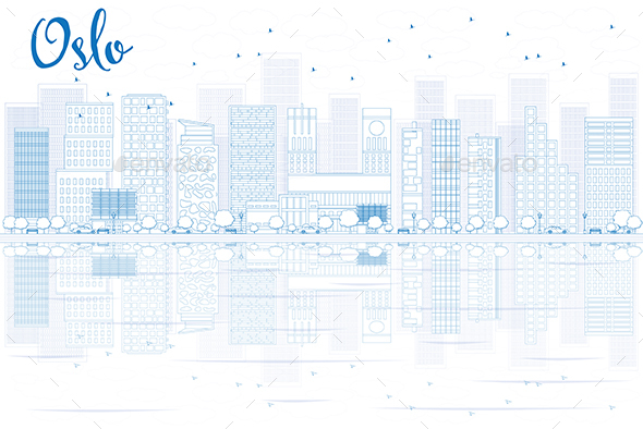 Outline Oslo Skyline with Blue Buildings and reflections. - Buildings Objects