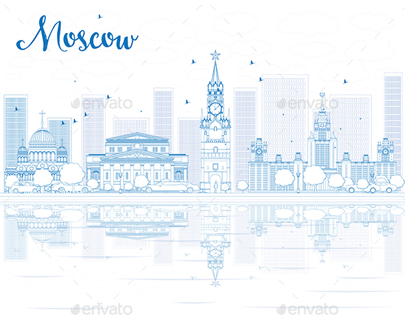 Outline Moscow Skyline with Blue Landmarks. - Buildings Objects