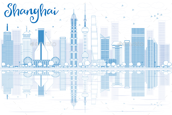 Outline Shanghai Skyline with Blue Skyscrapers and Reflections. - Buildings Objects