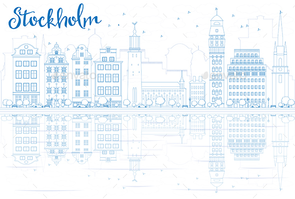Outline Stockholm Skyline with Blue Buildings and Reflections. - Buildings Objects
