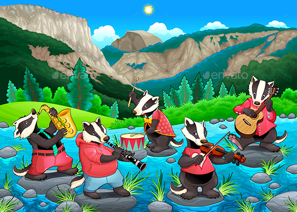 Group of Funny Badgers are Playing Music - Animals Characters