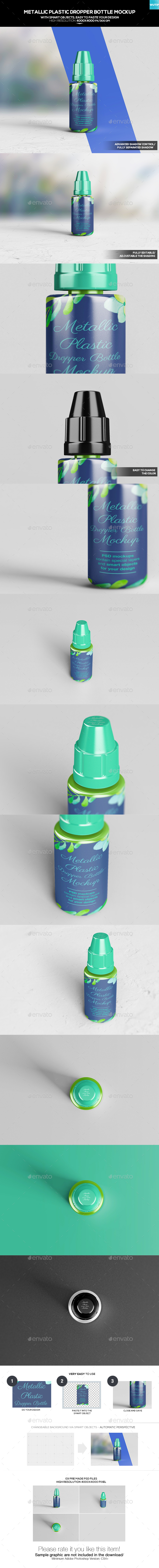 Metallic Plastic Dropper Bottle Mockup - Miscellaneous Packaging