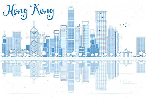 Outline Hong Kong Skyline with Blue Buildings. - Buildings Objects