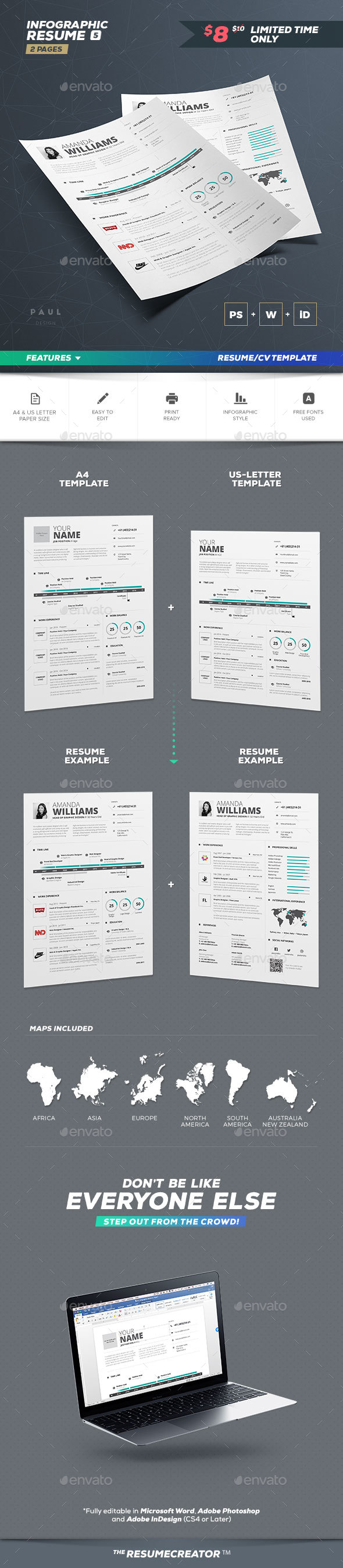 infographic resume cv volume 5 by paolo6180 graphicriver