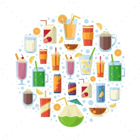Non Alcoholic Drinks in Circle Shape. Vector - Food Objects