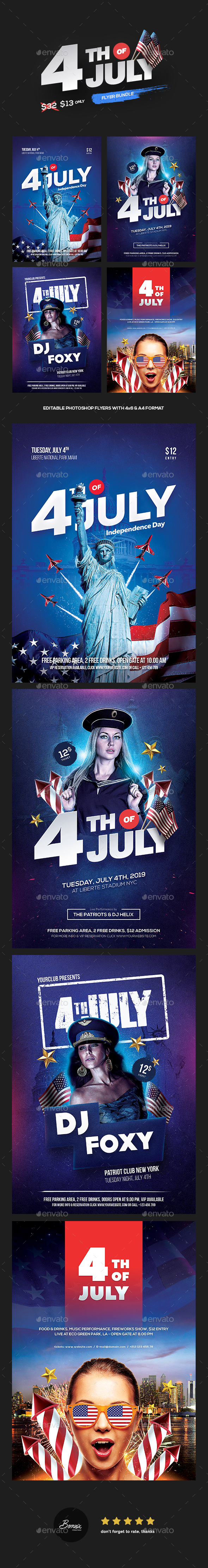 4th of July Flyer Bundle (4 in 1) - Holidays Events