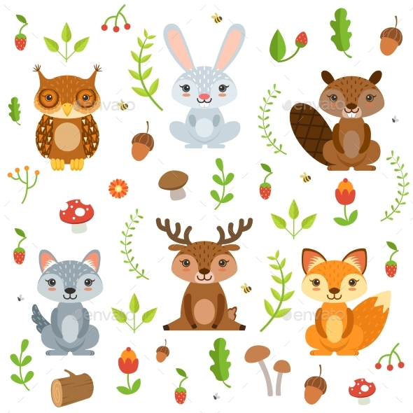 Forest Animals in Cartoon Style. Vector Characters - Animals Characters