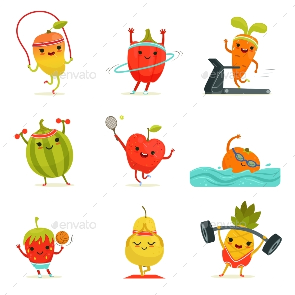 Funny Fruits Make Fitness Exercises. Vector - Food Objects