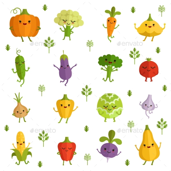 Vegetables Characters with Funny Emotions. Vector - Food Objects