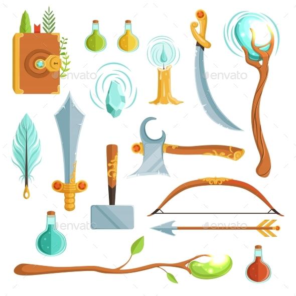 Vector Set of Fantasy Magic Weapons. Illustrations - Objects Vectors