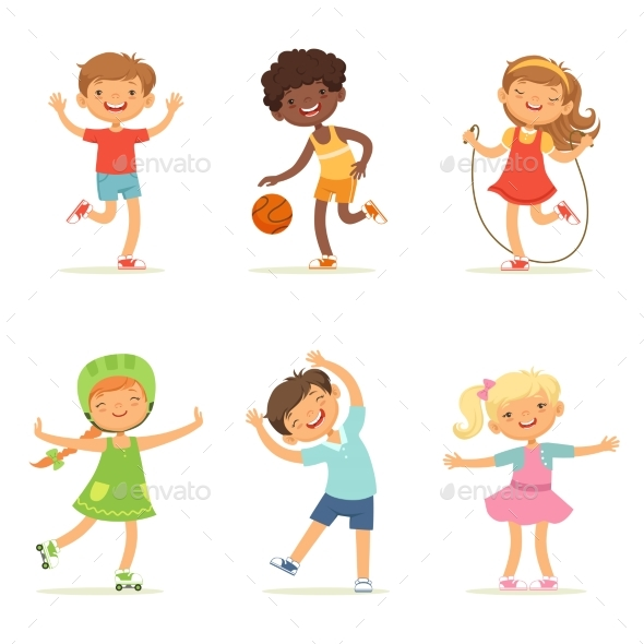 Kids Playing in Active Games. Vector Illustrations - People Characters
