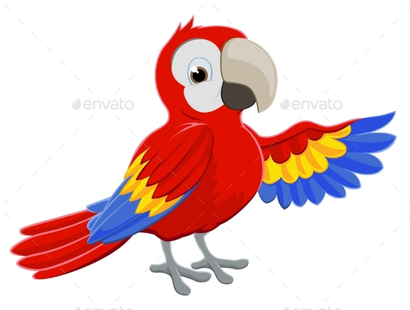 Cartoon Parrot Pointing - Animals Characters