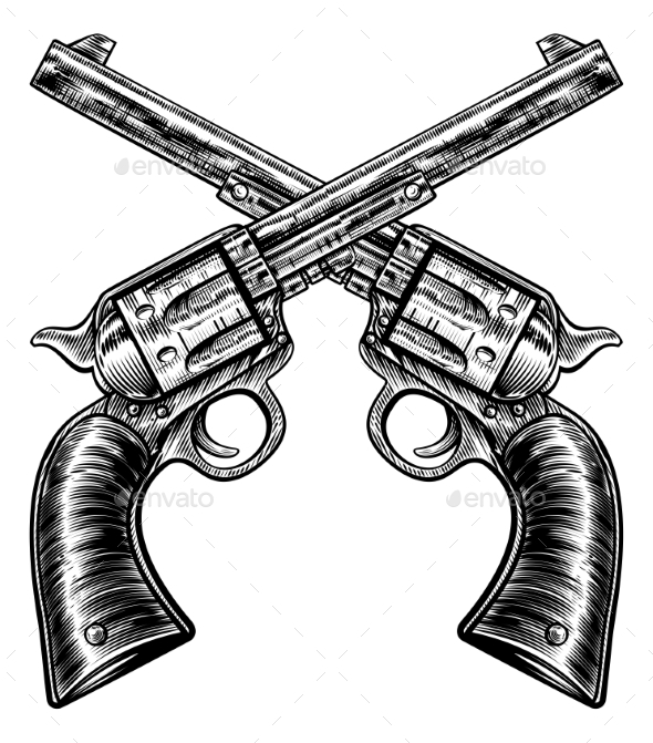 Crossed Pistol Gun Revolvers Vintage Woodcut Style - Miscellaneous Vectors