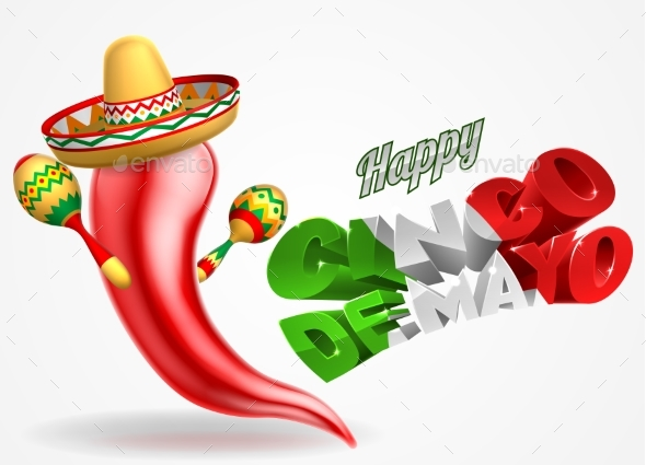 Happy Cinco De Mayo Chilli Pepper Design - Backgrounds Decorative