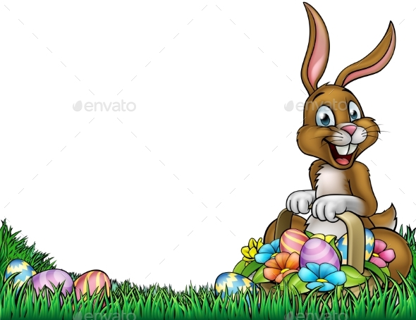 Easter Egg Hunt Bunny Background - Animals Characters