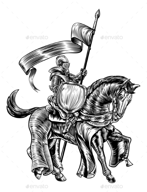 Knight on Horse Vintage Woodcut Engraving - Backgrounds Decorative