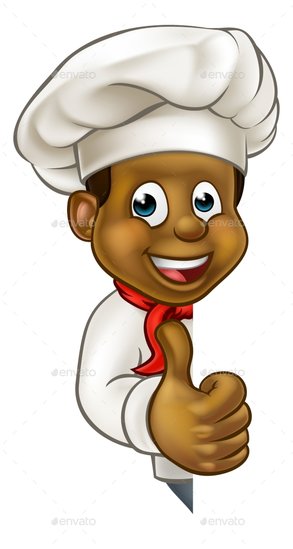 Black Chef Cartoon Character Mascot - Miscellaneous Vectors