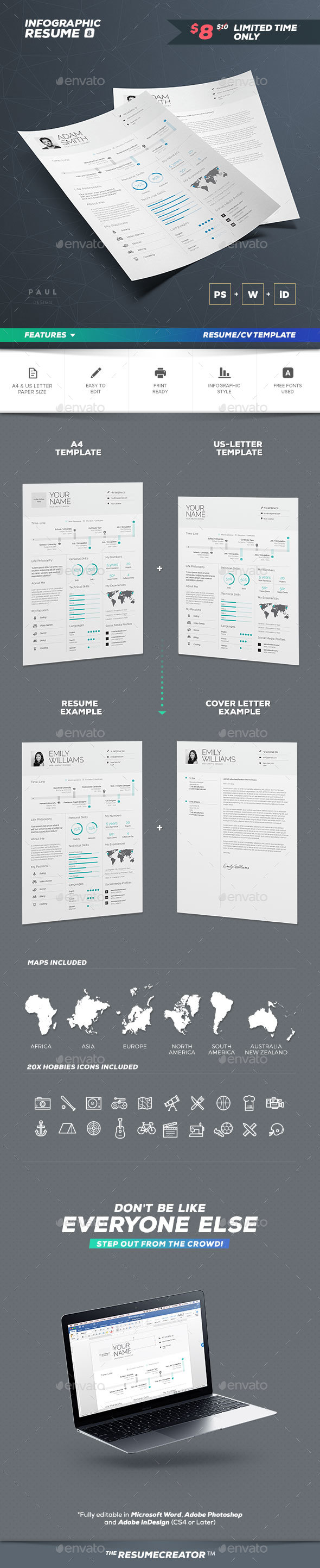 Infographic Resume/Cv Volume 8 - Resumes Stationery