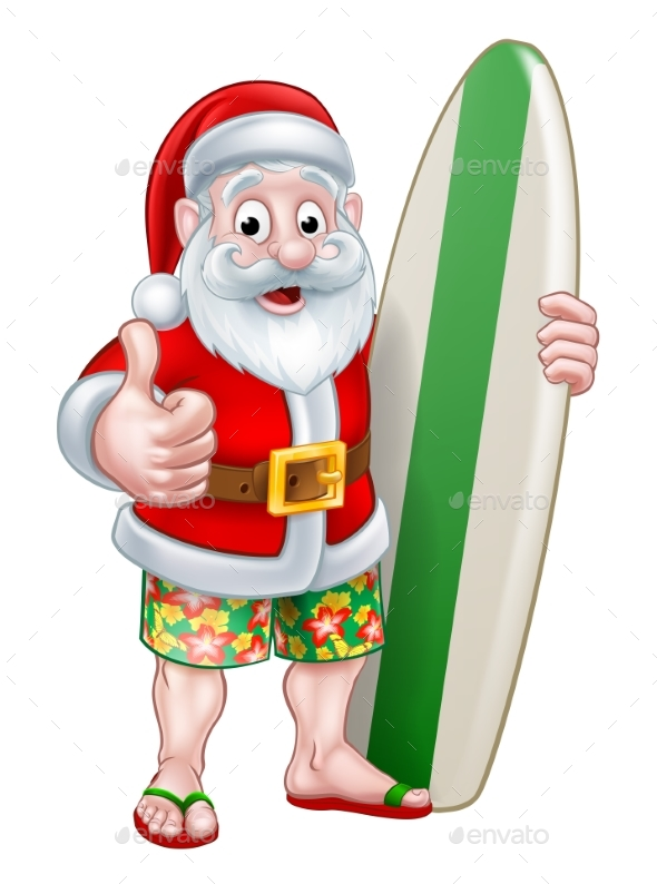 Santa in Shorts Holding Surfboard - Seasons/Holidays Conceptual