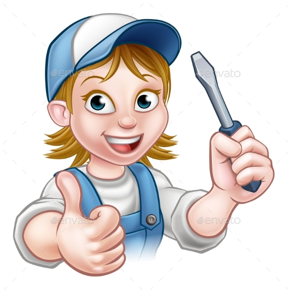 Cartoon Female Electrician Holding Screwdriver - People Characters
