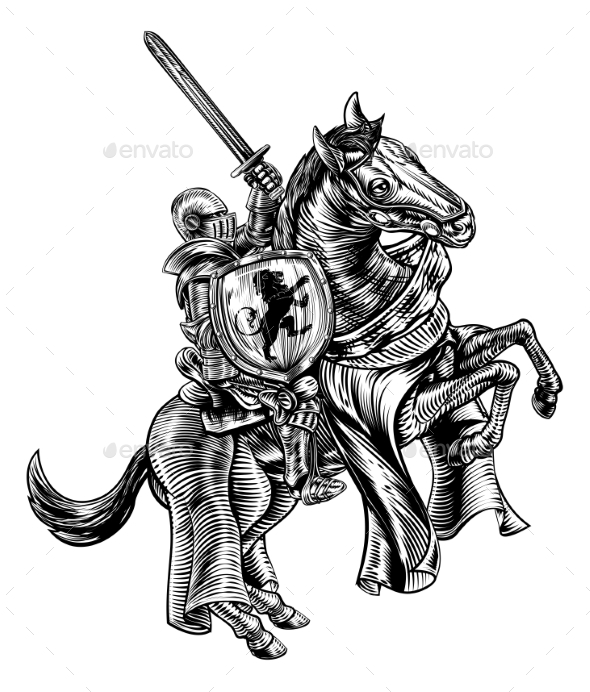 Knight on Horse Woodblock Engraving Style - Miscellaneous Vectors