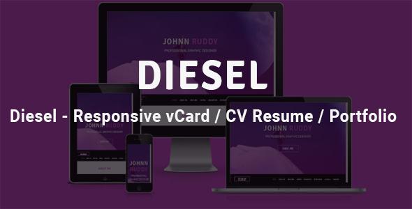 Diesel - Responsive vCard  / CV Resume /  Portfolio by Theme_Choices