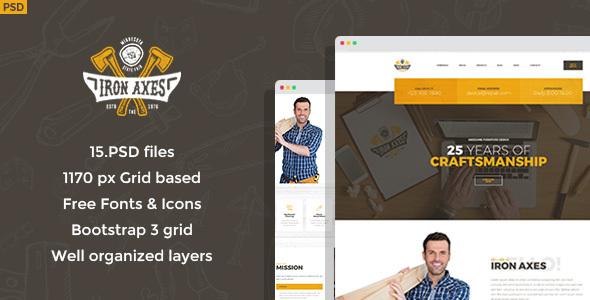 Iron Axes - Wood Work/Carpentry PSD Template