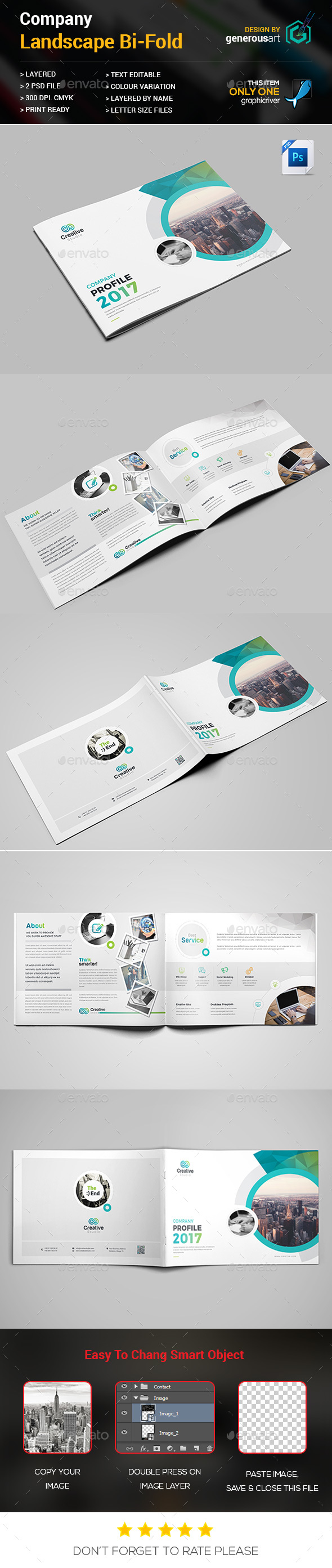 Landscape Bi-Fold Template - Brochures Print Templates