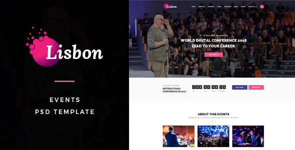 Lisbon : Events PSD Template - Events Entertainment