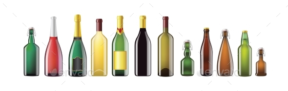 Alcohol Bottles - Realistic Vector Set of Objects - Man-made Objects Objects