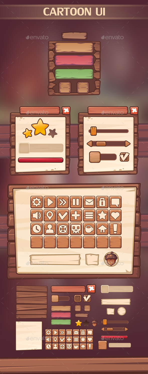 Cartoon UI - User Interfaces Game Assets