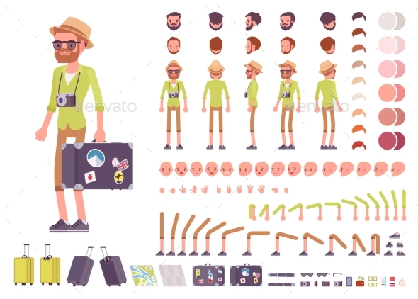 Tourist Male Character Creation Set - People Characters