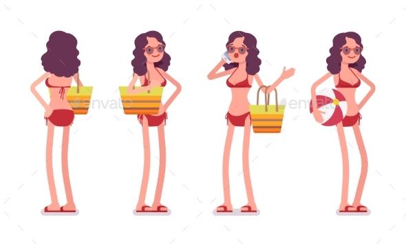 Woman in a Bikini Set, Standing Pose - People Characters
