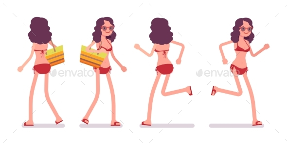 Woman in a Bikini Set, Running Pose - People Characters