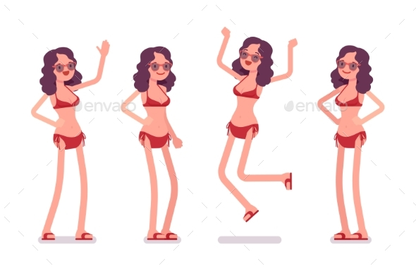 Woman in a Bikini Set, Positive Emotions - People Characters