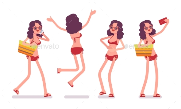 Woman in a Bikini Set, Positive and Happy - People Characters