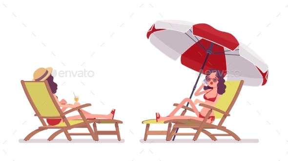 Woman in a Bikini Set Relaxing and Sunbathing - People Characters